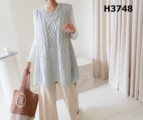 H3748 Long twisted vest sweater