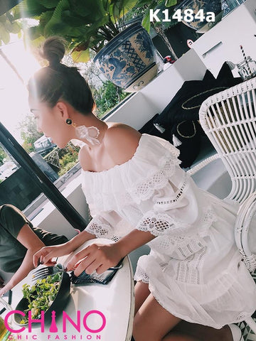 K1484a White off shoulder embroidery dress