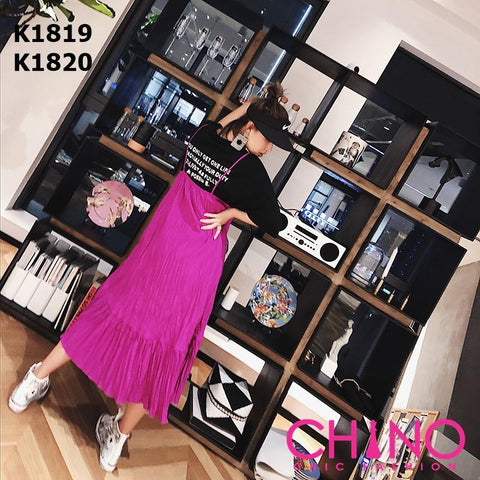 K1820 Pink purple suspender dress