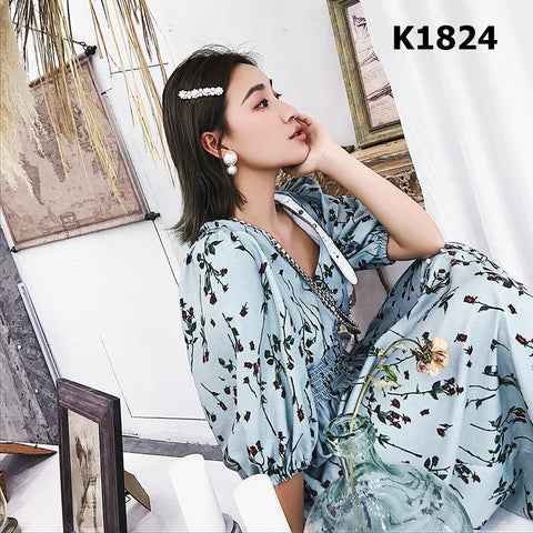K1824 Green V neck floral dress