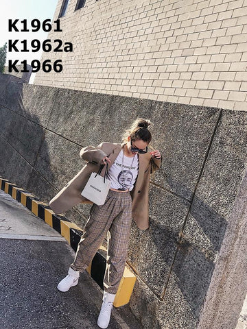 K1966 Check harem pants