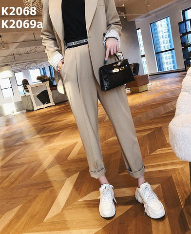 K2069a Lettering waist narrow pants