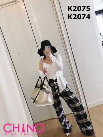 K2074 Black check pants