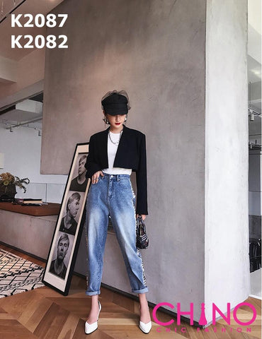 K2082 Sequin detailed loose fit jeans