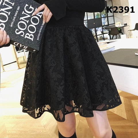 K2391 Black lace skirt