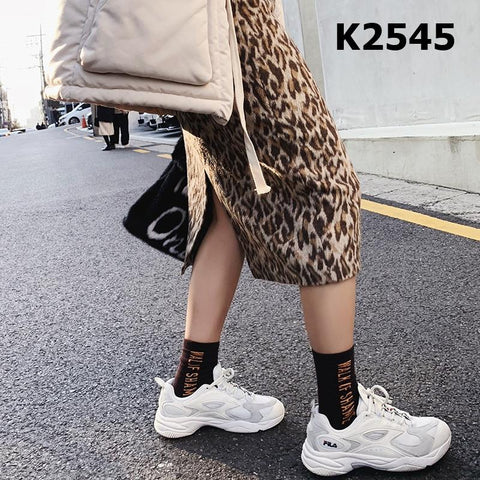 K2545 Leopard high rise skirt