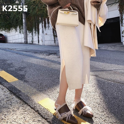K2555 Slit knit skirt