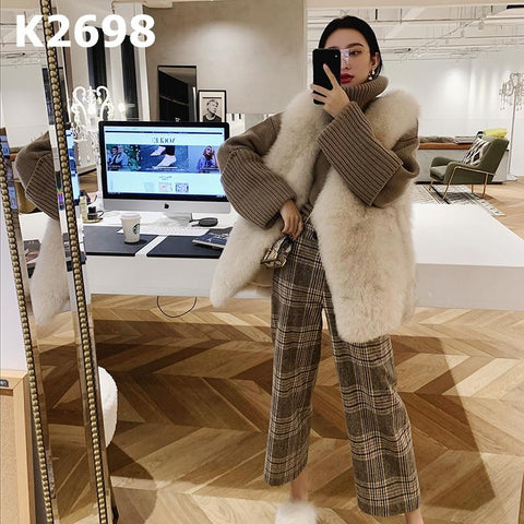 K2698 Brown check crop pants