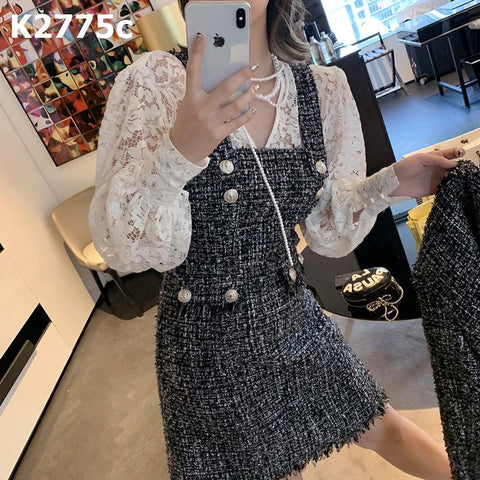 K2775c Tweed vest dress