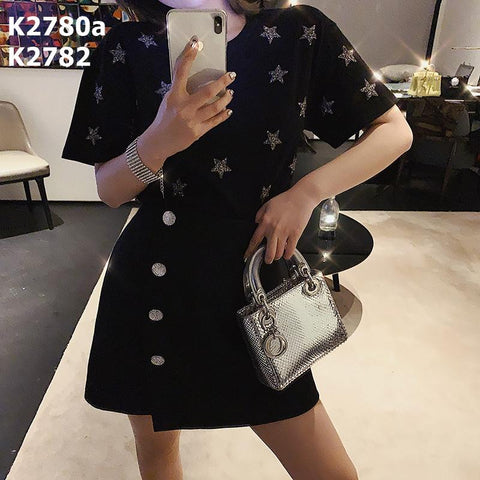 K2782 Bling bling button skirt
