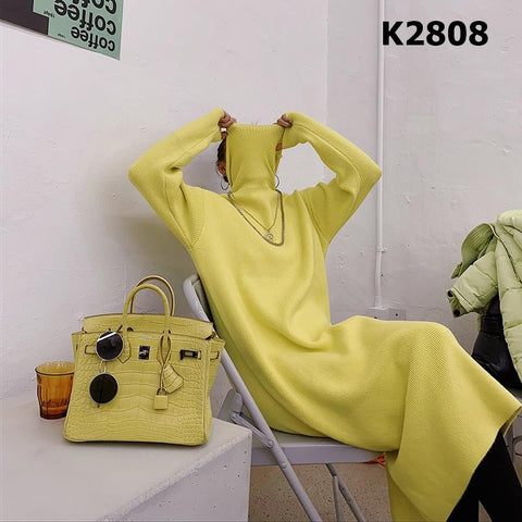 K2808 Turtle neck knit dress