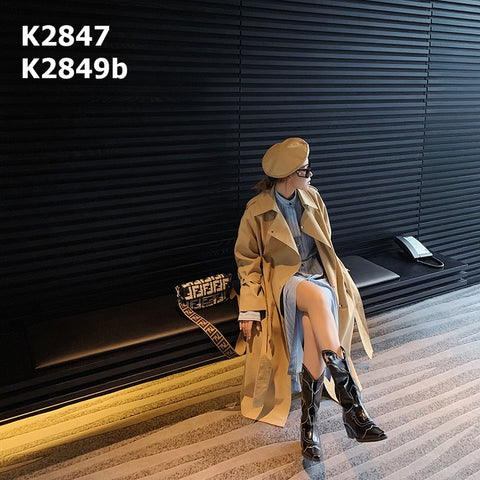 K2847 Beige loose trench coat