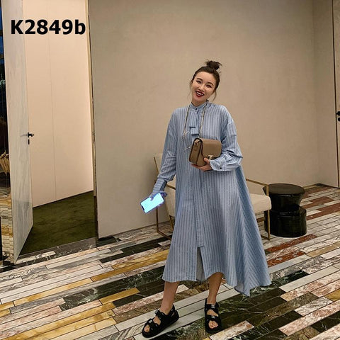 K2849b Blue lettering long flare dress