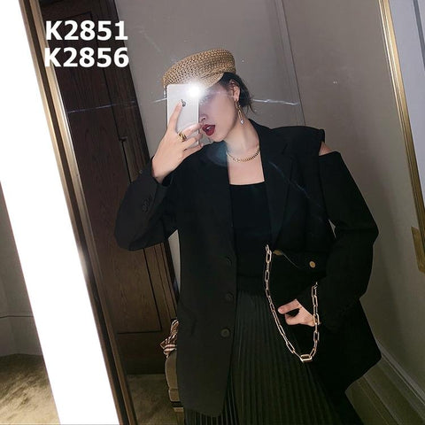K2851 Black cut out sleeve blazer