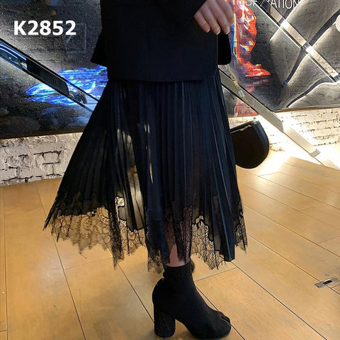 K2852 Asymmetrical lace skirt