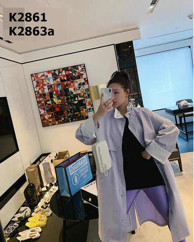 K2861 Puff high collar long trench coat
