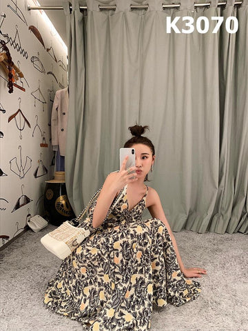 K3070 Yellow floral dress