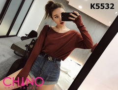 K5532 Brown red sexy back tee