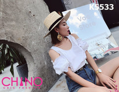 K5533 White cut out shoulder crop blouse