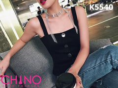 K5540 Black vest with silver button