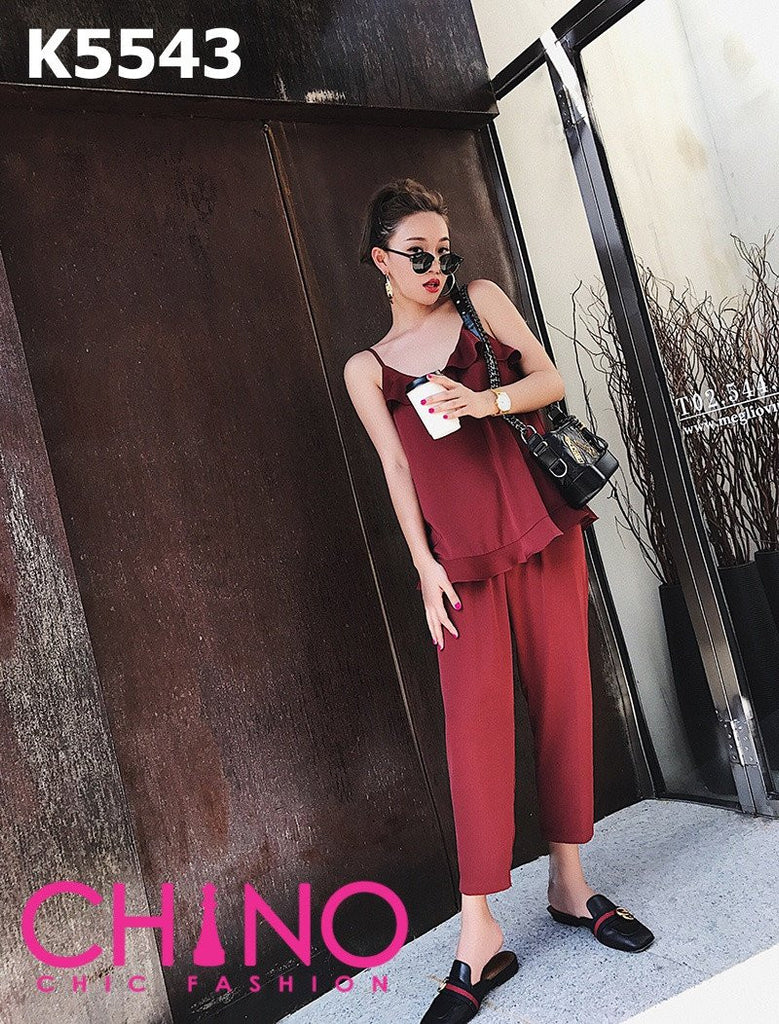 K5543 (one set) Silky ruffles vest x pants