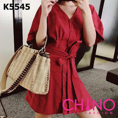 K5545 Red V neck pleated shirt dress
