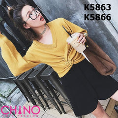 K5863 V neck twisted sweater