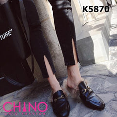 K5870 Black grey slit jeans