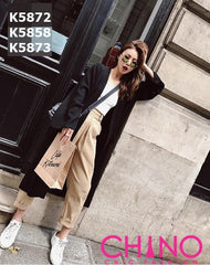 K5872 2 pocket long cardigan