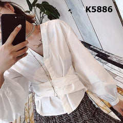 K5886 White V neck tied waist blouse