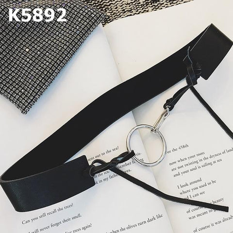 K5892 Black ring real leather belt