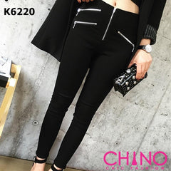 K6220 Black high rise zipper pants