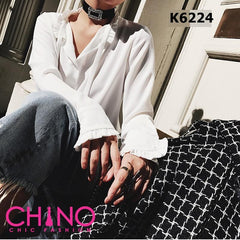 K6224 White ribbon blouse