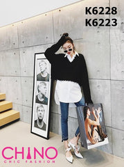 K6228 V neck raw edge sweater