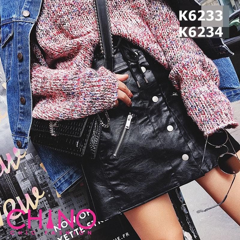 K6234 Black leather skirt