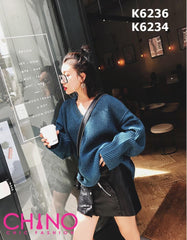 K6236 V neck thick knit sweater