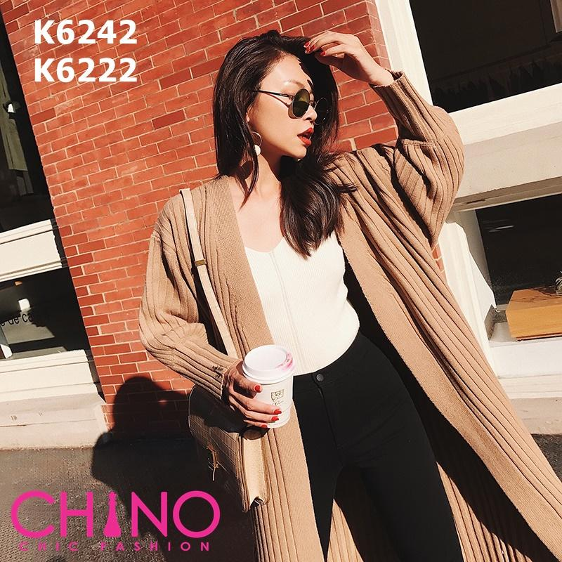 K6242 V neck long cardigan