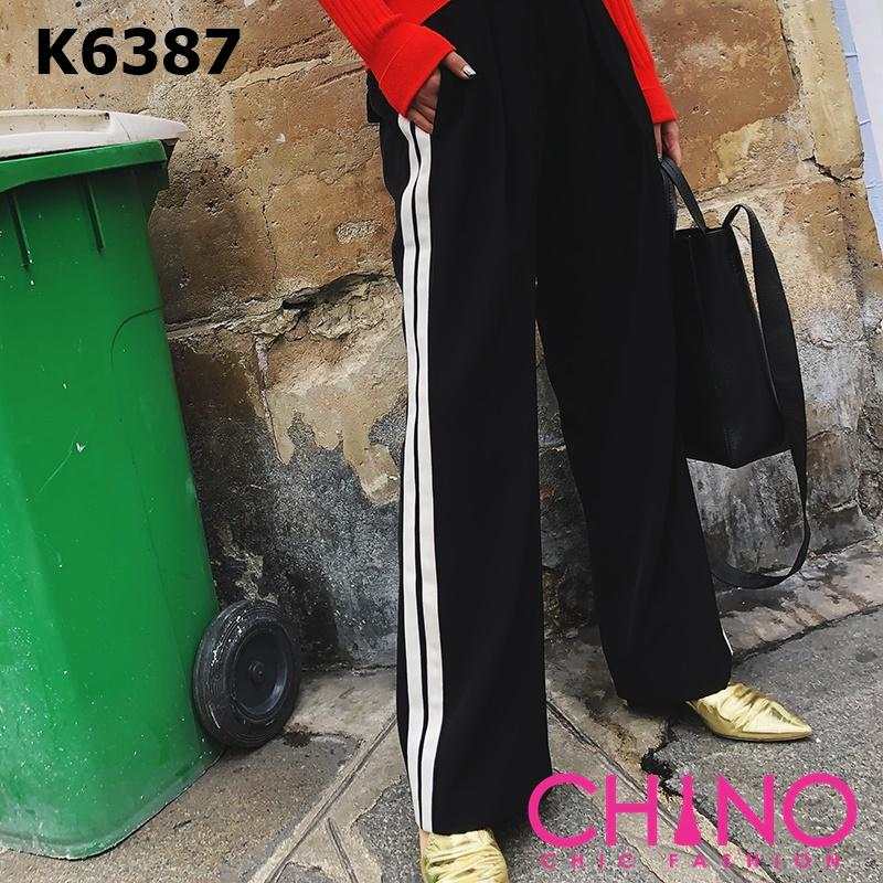K6387 Black double stripe pants
