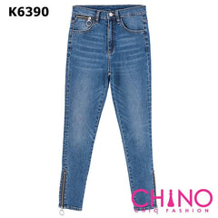 K6390 Blue zipper tight jeans