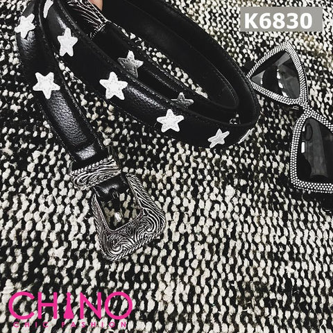 K6830 Black star cow leather belt