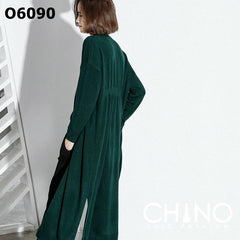 O6090 V neck long cardigan