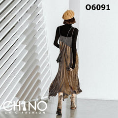 O6091 Brown polka dot vest dress