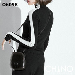 O6098 White stripe black turtle neck knit top