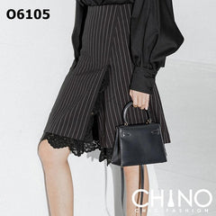 O6105 Black stripe lace skirt