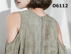 O6112 Dirty green cut out shoulder top