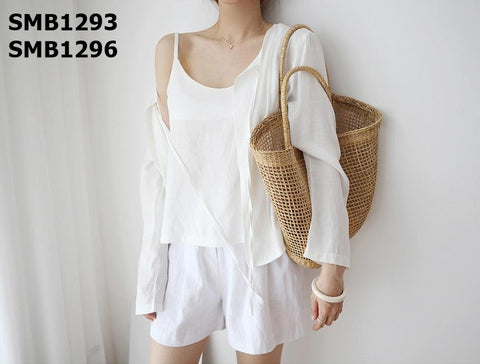 SMB1293 (one set) White cardigan x vest