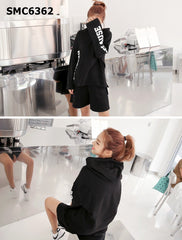 SMC6362 (one set) Lettering sleeve hoodie top x shorts