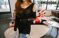 SMD6086 One cutout shoulder damaged knit top