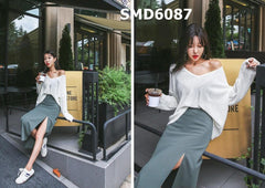 SMD6087 Big V neck plain knit top