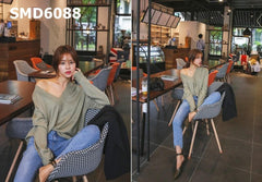 SMD6088 V neck plain knit top